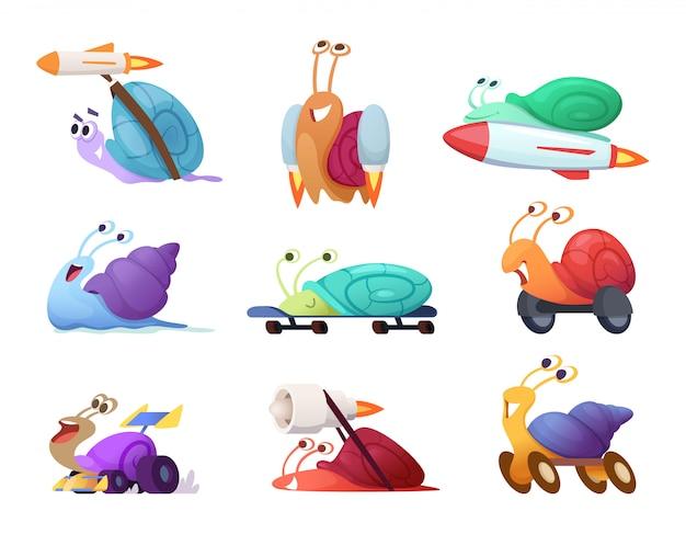 Szybkie ślimaki kreskówek. biznesowe koncepcyjne postacie konkurencyjne szybkie słodkie ślimaki wyścigowe maskotki w pozach akcji