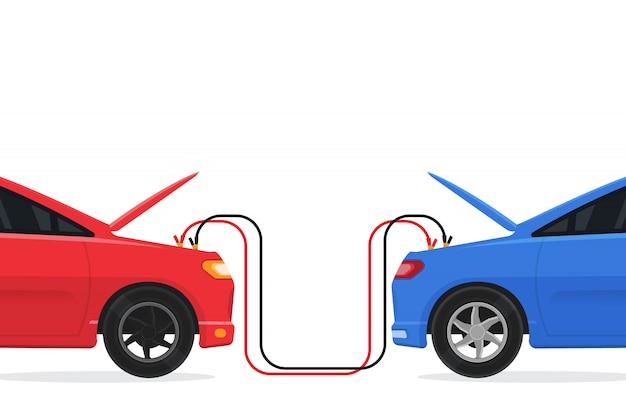 Szybkie uruchomienie dwóch samochodów, niski poziom naładowania baterii. ilustracji wektorowych.
