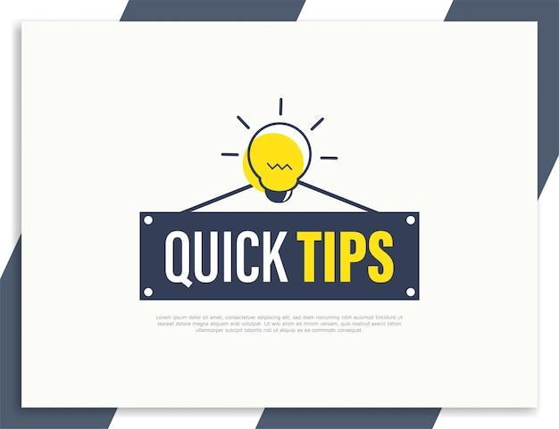 Szybkie wskazówki lub pomocny szablon projektu etykiety banera z poradami