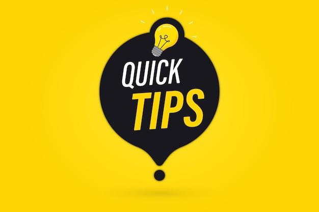 Szybkie wskazówki, pomocne triki, logo wektorowe, emblematy i banery. odznaka szybkie porady z żarówką i dymkiem. pomocny pomysł, rozwiązanie i sztuczka