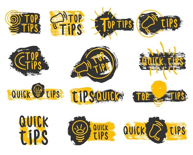Szybkie wskazówki przydatne sztuczki doodle logo, emblematy i banery, zestaw kolorowych podpowiedzi na stronie internetowej