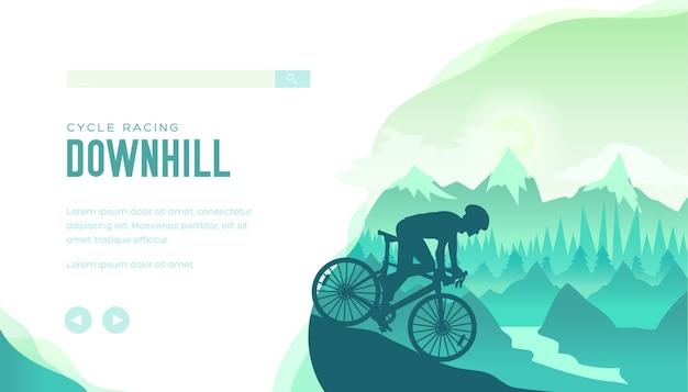 Szybkie zejście jeźdźca sportowca na zboczu góry