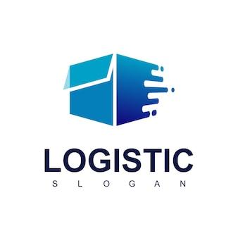 Szybko poruszające się pudełko, logo logistyczne