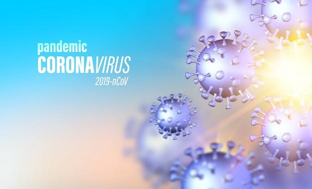 Szybko rozwijająca się globalna pandemia. koronawirus ewidentne objawy choroby ilustracja medyczny. zostań w domu dla swojego bezpieczeństwa. komputerowy model wirusa.