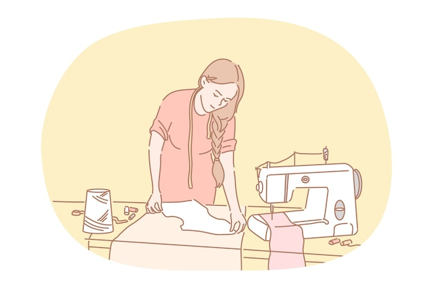 Szycie, krawiectwo, atelier, koncepcja projektanta. młoda kobieta postać z kreskówki krawcowa szycie odzieży z maszyną do szycia i sprzętem w studio. krawcowa, odzież, moda, robótki ręczne, kanalizacja