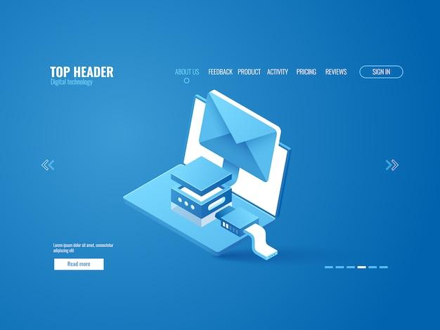 Szyfrowanie danych, połączenie internetowe, wysyłanie wiadomości e-mail, reklama internetowa, laptop z kopertą