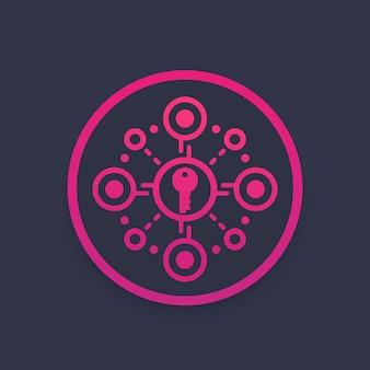Szyfrowanie, ochrona danych, ikona wektora bezpieczeństwa dostępu