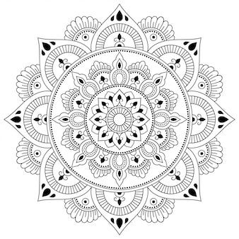 Szyk kołowy w formie mandali z dekoracją kwiatową. ozdobny ornament w etnicznym stylu orientalnym. kontur doodle ręcznie rysować ilustracja.