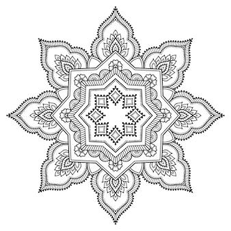 Szyk kołowy w formie mandali z kwiatem. ozdobny ornament w etnicznym stylu orientalnym. zarys rysować ręka.