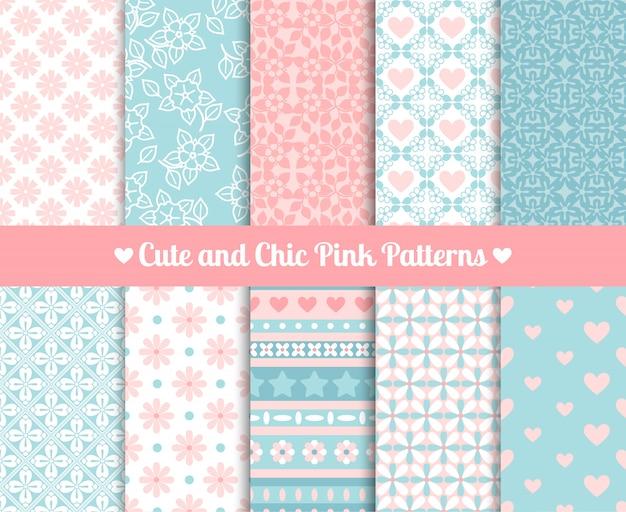 Szykowne różowe i niebieskie wzory