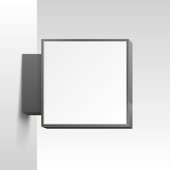 Szyld biały kwadrat na białym tle. ilustracja wektorowa