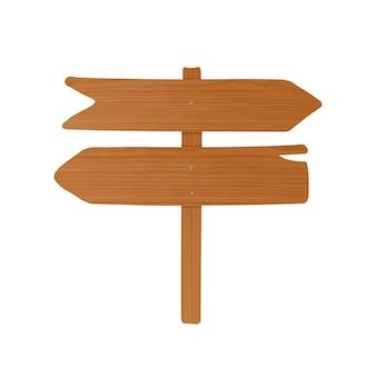 Szyld drewniany lub prowadnica wykonana ze spiczastych desek i słupka przybity gwoździami. pusty drogowskaz ze strzałkami na białym tle. element ozdobny projektu kreskówki