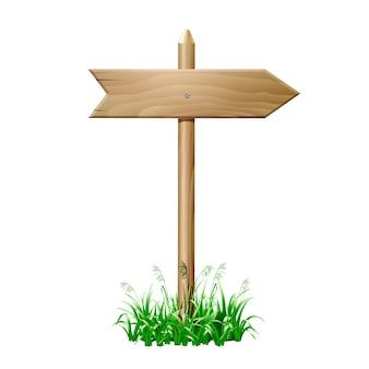 Szyld drewniany w trawie. ilustracja wektorowa eps10