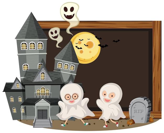 Szyld halloween z duchem dzieci