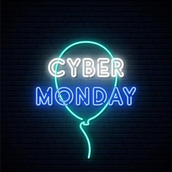 Szyld neon cyber poniedziałek.