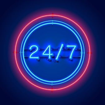 Szyld neonowy 24 7 czas otwarty. ilustracja wektorowa