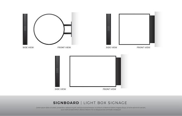 Szyld puste okrągłe, kwadratowe, prostokątne signage lightbox