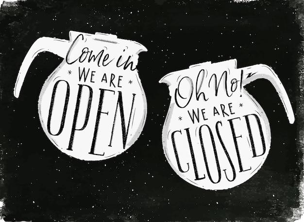 Szyld z dzbanek do kawy w stylu vintage napis w naszym sklepie jest otwarty