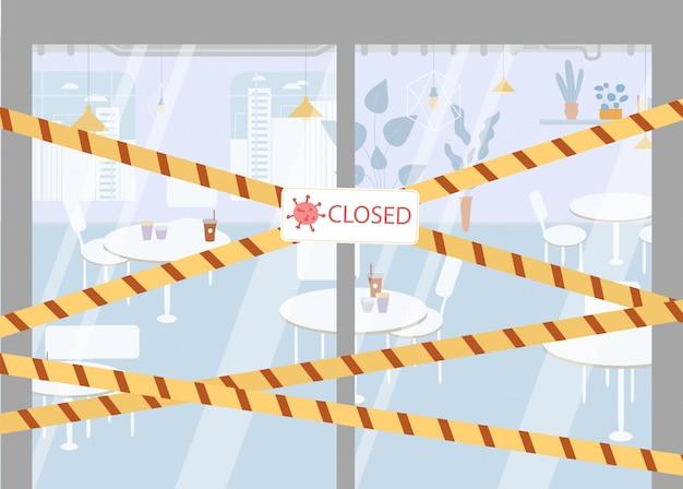 Szyld zamknął taśmę graniczną policji na szklanych drzwiach