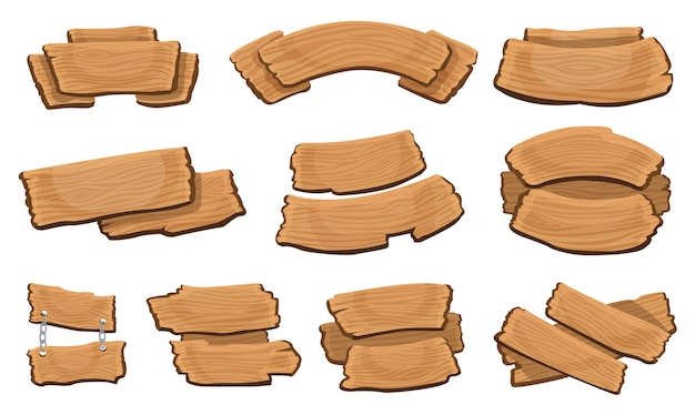 Szyldy drewniane. kolekcja drewnianych desek kreskówka.