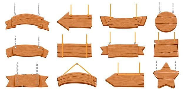 Szyldy drewniane wiszące na liny. drewniane transparenty puste i znaki strzałek. okrągła i gwiaździsta deska na łańcuszku. stary rustykalny szyld wektor zestaw. szyld z drewna, transparent drewniana tekstura powiesić na łańcuchu