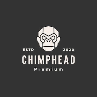 Szympans głowy vintage logo ikona ilustracja