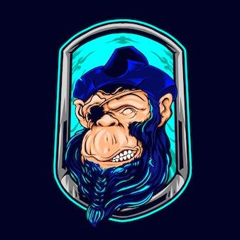 Szympans ilustracji piratów