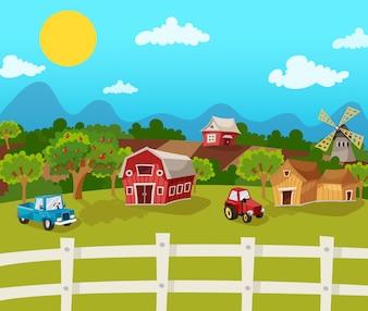 Tło Cartoon Farm