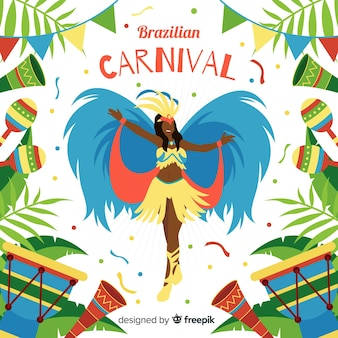 Tło karnawał brazylijski tancerz