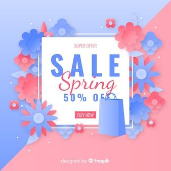 Tło sprzedaży wiosna kwiatów