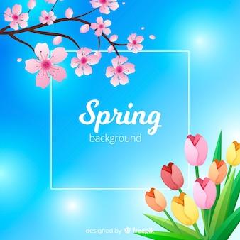 Tło wiosna błyszczący niebo