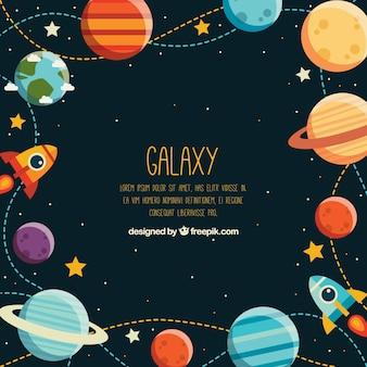 Tło z kolorowych planet i rakiet w płaskim stylu