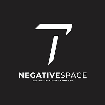 T litera negatywna przestrzeń geometryczny alfabet znak logo wektor ikona ilustracja