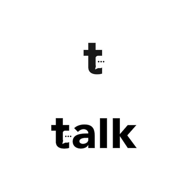 T literować mówić mówić logo wektor ikona