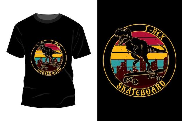 T-rex deskorolka t-shirt makieta design vintage retro
