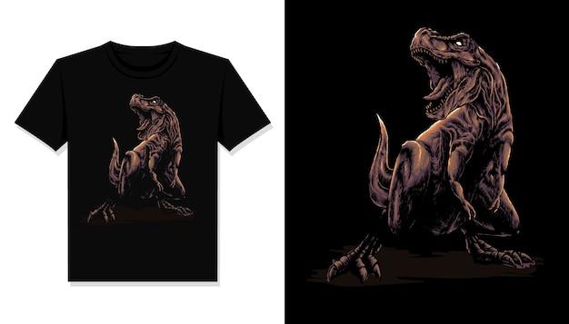 T rex illustration koszulka