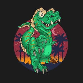 T rex ilustracja ładny dinozaur