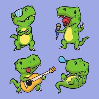 T rex jest fajny, t rex śpiewa, t rex gra na gitarze, a t rex śpi zestaw ilustracji maskotki z logo zwierząt