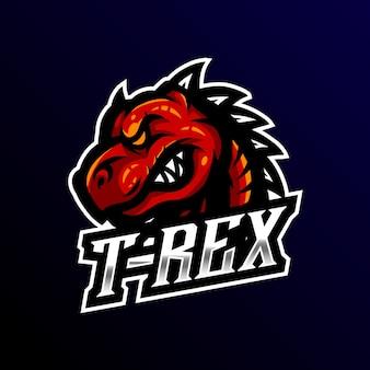 T-rex maskotka logo esport gaming