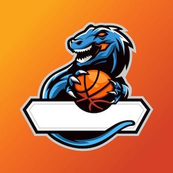 T-rex przynosi logo esac koszykówki msacot