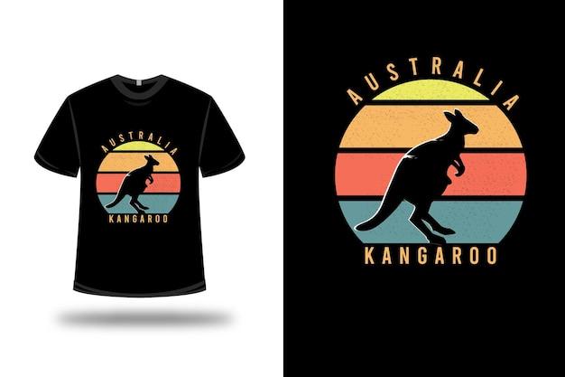 T-shirt Australia Kangaroo W Kolorze żółto-pomarańczowo-zielonym Premium Wektorów