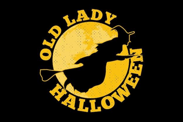 T-shirt czarownica płaski księżyc halloween vintage ilustracja