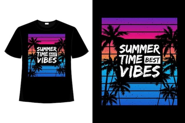 T-shirt czas letni najlepsze wibracje palmowa plaża gradientowa w stylu retro vintage ilustracja