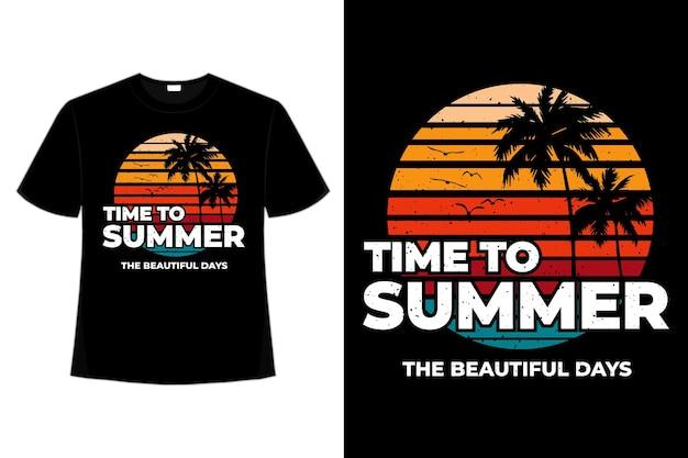 T-shirt czas letni piękne dni w stylu retro w stylu vintage na plaży
