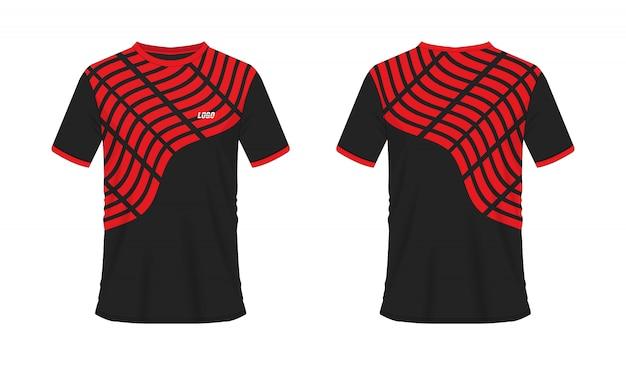 T-shirt czerwony i czarny piłka nożna lub piłka nożna sport jersey, ilustracja