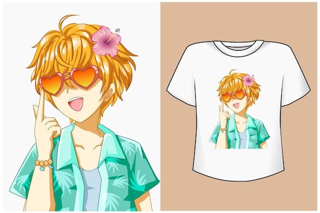 T shirt design makieta ładny chłopiec w okularach w lecie