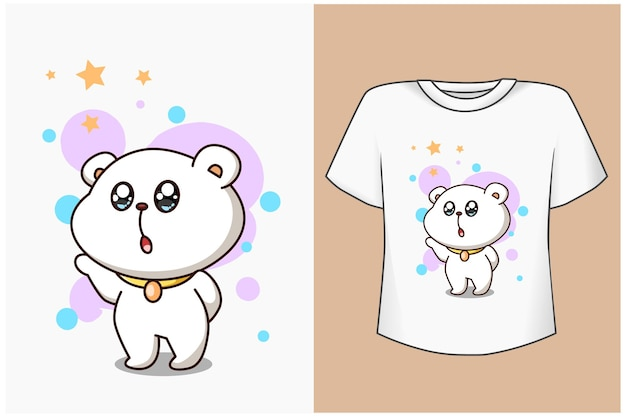 T shirt design makieta słodki i szczęśliwy miś z gwiazdami ilustracja kreskówka