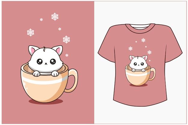 T shirt design makieta słodki kot w filiżance ilustracja kreskówka