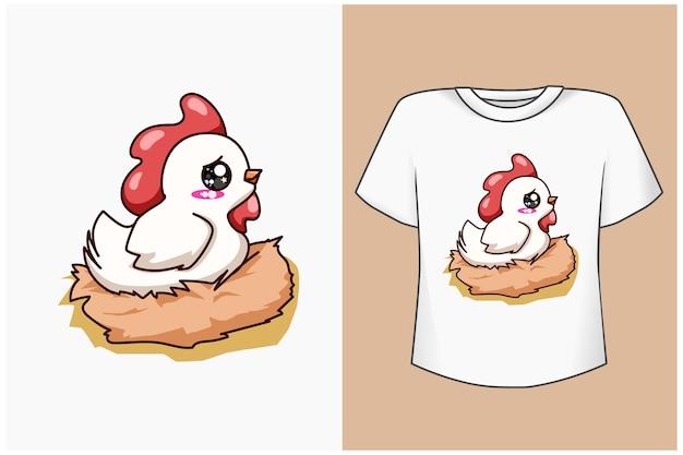 T shirt design makieta szczęśliwa biała kura ilustracja kreskówka