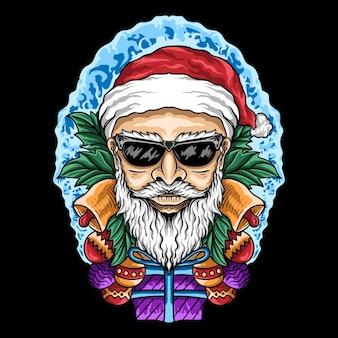 T shirt design ręcznie rysowane święty mikołaj z prezentową piłką wesołych świąt